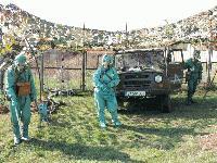 Специалистите по радиационно и химическо разузнаване на полева подготовка