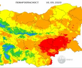 Червен код за пожари е обявен в Ямбол, Сливен, Хасково, Стара Загора и Бургас