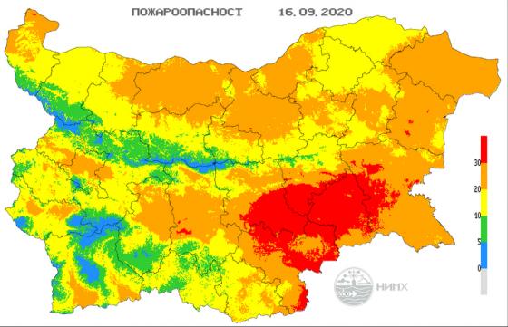 Код червен за висок риск от пожари е обявен отново днес за цялата област Ямбол и части от областите Сливен, Хасково, Стара Загора и Бургас. За това предупреждават...