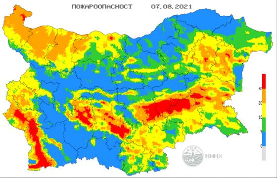 Екстремален индекс за пожароопасност е в сила за територии в 8 области в страната за днес. Предупреждението важи за областите Кюстендил, Благоевград,...