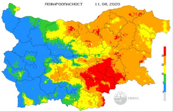 И днес индексът за пожароопасност е екстремален за областите Ямбол, Сливен, Хасково, Бургас, Стара Загора, Велико Търново, Силистра, Шумен, Русе, Търговище...