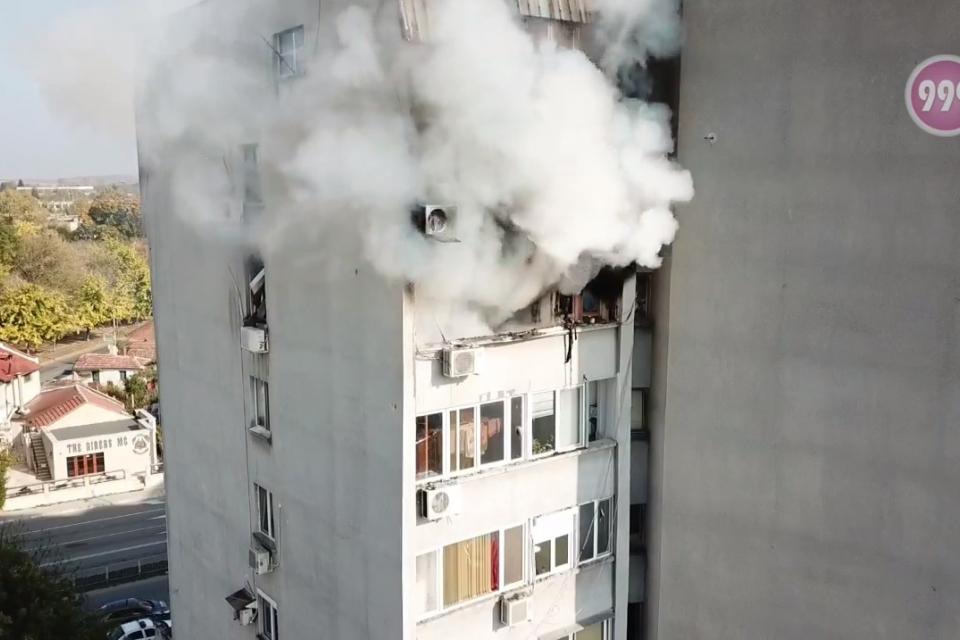 """На 21 октомври към 14:55 ч. на тел. 112 е получен сигнал за това, че в жилище на седмия етаж на ул. """"Граф Игнатиев"""" 6 е възникнал пожар от възпламенила..."""