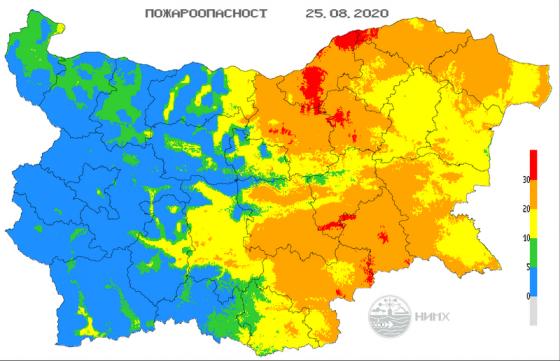 Екстремален е и днес индексът за опасност от пожари в областите Ямбол, Сливен, Хасково и в останалата източна част от страната, предупреждават от Националния...