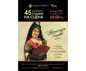 """Концерт-бенефис на Цветомира Гицова в Културно-информационен център """"Безистен"""" – Ямбол по повод 45 години на сцена"""