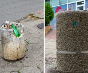 Община Ямбол започна ремонт и подмяна на бетонните кошчета, метални цветни кошове за отпадъци ще бъдат монтирани в различни градски зони