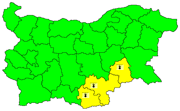 Жълт код за високи температури е в сила днес за областите Ямбол, Хасково и Кърджали, предупреждава Националният институт по метеорология и хидрология....