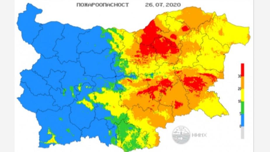 Екстремален индекс за пожароопасност е в сила за територии от 7 области на страната. Това сочи справка на сайта на Националния институт по метеорология...