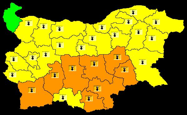 За 3 август е обявен оранжев код за опасно горещо време в осем области от страната. Това са Ямбол, Сливен, Хасково, Стара Загора, Кърджали, Пловдив, Пазарджик...