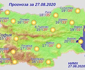 Слънчево и горещо време в четвъртък