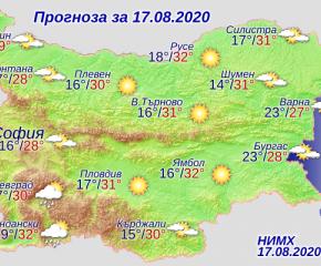 Слънчево време с температури над 30 градуса в днешния ден