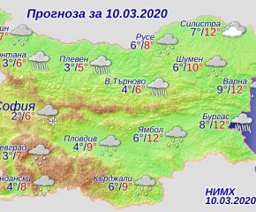 Времето над България днес