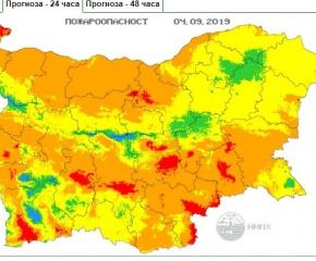 Ямбол и още 8 области са пожароопасни на 4 септември
