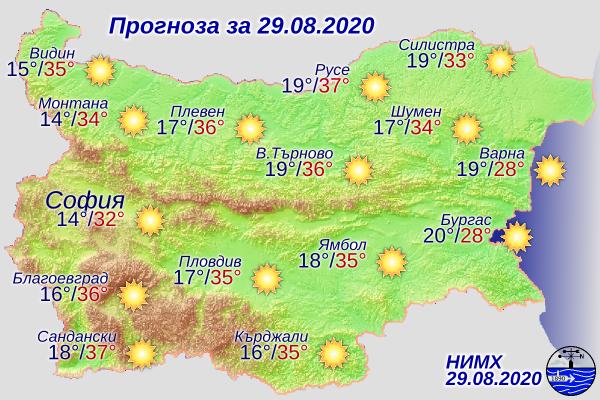 Жълт код за високи температури е обявен за днес в 20 области. Дневните температури там ще бъдат между 34 и 37 градуса. Само в 8 области е обявен зелен...