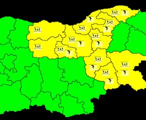 Жълт код за опасно време в Ямбол, Сливен и още 9 области на страната