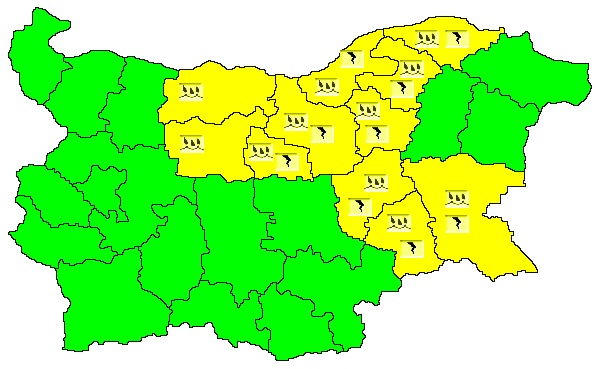 Жълт код за опасно време е в сила днес в 11 области на страната. Предупреждението за значителни количества и силни гръмотевични бури, е в сила в областите...