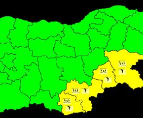 Жълт код за поройни валежи и гръмотевични бури за Ямбол и още 3 области