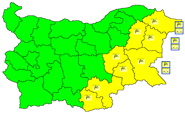 Жълт код (първа степен на предупреждение за потенциално опасно време за силен северен вятър в областите Ямбол, Сливен, Кърджали Добрич, Варна, Шумен, Бургас...