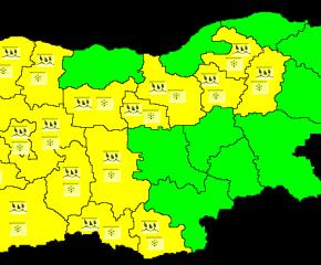 Жълт код за снеговалежи е обявен в 17 области